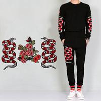 Nueva llegada patrón de peonía serpiente bordado apliques parches decoración coser para DIY parches de flores rojas envío gratis