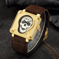 Men' s stylish Skull Dail wristwatches Waterproof Brown ...