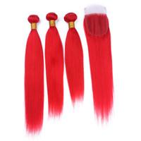 3Bundles مستقيم اللون الأحمر النقي الشعر مع إغلاق الدانتيل 4Pcs / Lot الماليزية إغلاق الشعر الأحمر الرباط مع نسج الشعر