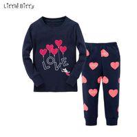 Новые девочки пижамы наборы детей с длинным рукавом любовь Сердце Emboridery пижамы детские пижамы для 2-8 лет детские детские пижамы