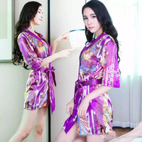 3011a4a35 Frete Grátis Nova lingerie sexy cosplay Sexy Chiffon Lingerie Tentação Plus  Size Pijama Impressão Transparente Kimono Camisola Roupões de banho Conjunto