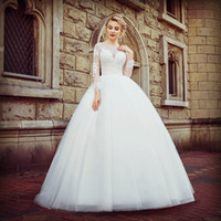 Vintage Lace Tulle Ball Gown Wedding Dresses 2018 Illusion B...
