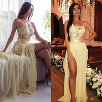 Light Yellow 2018 Prom Gowns Strapless Sleeveless Lace Applique Evening Dresses Back Zipper Side Split Floor-Length Custom Made Party Gowns