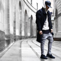 KANYE Grey Side Zipper Casual Pants Mens Fashion Chinos Jogg...