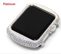 Für Apple Watch Serie 1 2 3 Strass Diamantgehäuse handgefertigt Zirkon Kristall Lünette Galvanik Gold Uhrengehäuse 38mm 42mm
