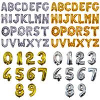16 Inç Alüminyum Kaplama Balon Numarası Mektup Şekilli Altın Gümüş Şişme Balonlar Doğum Günü Düğün Dekorasyon Olay Parti Malzemeleri C4779