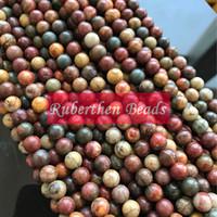 NB0045 Atacado Natural Solta Picasso Pedra Jasper Beads Pedra Vermelha Contas de Pedra Natural 4/6/8/10 mm Contas Redondas para Fazer Jóias