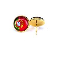 2018 national flag ohrstecker russland spanien frankreich flagge ohrring 10mm glas edelstein cabochon silber und vergoldet kupfer schmuck b18124