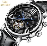 2b4e806cac5 Brw NEW KINYUED Marca Esqueleto Assista Automático Tourbillon Relógios  Mecânicos Homens À Prova D  Água