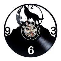 1Piece 늑대 동물 기록 벽 시계 창조적 인 클래식 홈 인테리어 수제 CD 예술 시계 Relogio 드에서 Parede