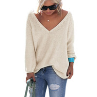 pull femme 2016 Suéter Mujer Invierno Cuello en V Otoño Manga larga Jerséis sueltos sexy Mujer Suéter Sueter Mujer Jumper Mujeres