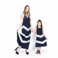 4 Colors Mother Daughter Matching Dresses Summer Solid Color...