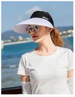 Venta al por mayor de deportes de verano de diseño simplificado Aleros grandes Vacío superior protector solar Sombrero sunless especial al aire libre plegable Sombrero de moda de sombreado de sol Ciclismo