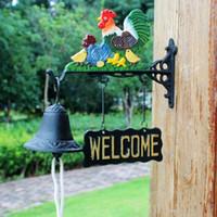 Fonte Rooster extérieur Dinner Bell Ranch Farm Country Chicken Family Bienvenue Cloche Métal Peinture main Porte Porche Cabin Lodge Décor Sonnette