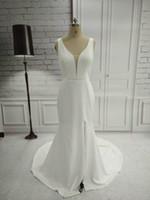 Immagini reali eleganti sirena raso satinato laterale a fessura da sposa abiti da sposa 2018 Abiti da sposa a V-scollo a V Collo a V