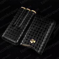 코 히바 블랙 휴대용 시가 케이스 3 튜브 스티칭 가죽 담배 홀더 여행 휴 미더 상자 독창적 인 패션 고전적인 품질 디자인
