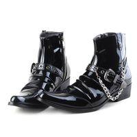 Trendy Black Men Kostki Boot Siate Toe Łańcuchy Klamry Charm Moda Buty Mężczyźni Motocykl Buty Wysokie Sztuki Patentowe Skórzane Buty Zapatos Y10