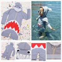 New Summer Baby Girls Boys Shark Shape Grey Hooded One- piece...