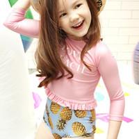 طفلة قطعتين chlidren ملابس طويلة الأكمام حمامات الشمس 2018 يفصل ارتفاع الخصر الأناناس طباعة ملابس السباحة المايوه