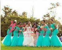 2021 Hot Style Afrique du Sud Style Nigérian Robes de demoiselle d'honneur de la Sirène Plus de Taille Mermaid Maid of Honor Robes pour mariage à l'épaule Turquoise Tulle Robe