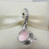 Tasse à thé enchantée en argent sterling 925 pendantes avec pendentif en perles de rocaille avec émail adaptée aux bijoux européens Pandora Bracelets Colliers Pendentifs