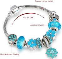 mavi Murano Taş Charms Bilezikler, Pan'ın Stil DIY Moda Yılan Zinciri, 925 Paslanmaz Çelik ve Alaşım Profesyonel 10pcs takılar bilezikler