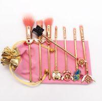 Marca 8 PZ Pennelli Trucco Set Sailor Moon Mermaid Spazzole Metalliche Ombretto Pennello Evidenziatore Sopracciglio Pennello Miscelazione Cosmetici Nave Libera