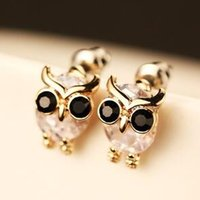 Animal Owl Earrings for Women   Girls Fashion Zircon Small S...