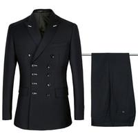 2018 negro trajes de doble botonadura para hombre trajes de boda púrpura establece  2 piezas hombres 557632932ed