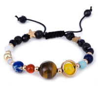Solar System Bracelet With Natural Big Tiger Eye Stone Black...