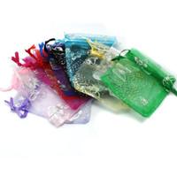 무작위 믹스 컬러 쥬얼리 포장 Drawable Organza 가방 나비 7x9cm, 웨딩 선물 가방 파우치, 100pcs / lot