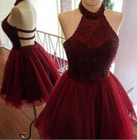 Butgundy New Major burgundy sweet 16 dress Short Keyhole Bac...