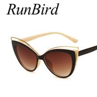 Moda Clássico Mulheres Designer De Marca Cateye Óculos De Sol Feminino  Vintage Senhora Olho De Gato 580814e471