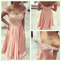 Off Shoulder Pink Pageant Evening Dresses Long A Line Floor ...