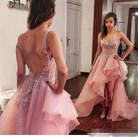 2018 Dusty Pink High Low Prom Vestidos Organza expuesto deshuesado vestido de noche sin espalda Sexy por encargo spaghetti Straps vestidos de cóctel