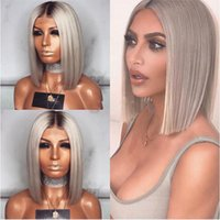 Hot Selling Ombre Grey Lace Front Wigs With Baby Hair 180% D...