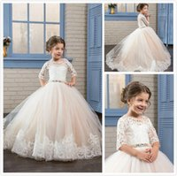 Cheap Flower Girls Dresses With Half Sleeves Lace Appliques ...