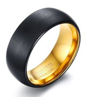 Fede nuziale 8mm Anello in carburo di tungsteno nero a cupola spazzolato con oro 18 carati comfort interno HOT SALE negli USA e in Europa