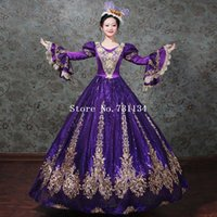 Violeta / Negro / Verde Medieval Masquerade Sparkle Dresses Movie Theme Gown Teatro Recreación Disfraces