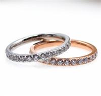 Chegada nova Full Zirconia Anel de Aço Titanium Amantes de Casamento CZ Anel de Cristal Não Desaparecer Prata Rosa de Ouro para As Mulheres Presente