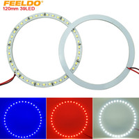 FEELDO 2 unids / lote 120mm Car Angel Eyes 1210/3528 39SMD LED Faros Halo Ring Angel Eye Lighting Blanco Rojo Azul # 2673