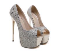 c886fb787a5b4 16 cm de luxe paillettes paillettes mariage chaussures femmes concepteur talons  hauts peep toe plate-