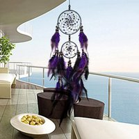 Feather Crafts Purple Dream Catcher Wind Chimes Handmade Ind...
