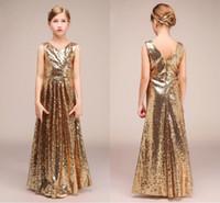Sexy dama de honor de lentejuelas de oro vestidos para niñas con cuello en V acanalado sin respaldo cremallera piso largo vestido de desfile de niñas barato