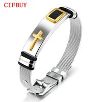 CIFBUY punk cruz pulsera para hombres longitud 16.5-21 cm malla correa banda acero inoxidable negro / oro color male wrap pulseras gh878