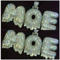 Nuovo !!! A-Z Nome personalizzato 0-9 Bubble Letters Speciale esagera Edge Collane Pendente di Fascino Per Cubic Zircone Catena Corda Hip Hop Gioielli Regali