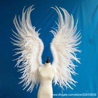 Custom Large Angel Feather Wings voor Model Show Stage Performance Shooting Props Party Bruiloft Haan Veer Wings EMS gratis verzending