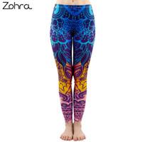 Leggings Femininas Zohra Moda Mulheres Azul Impressão Mandala Sexy Workout Elasticity Calças Fitness Stretch Stretchs Bottoms