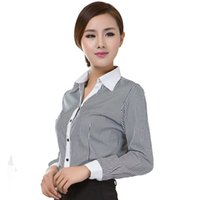 2018 Office Lady Formal Blouses Stripe Long Sleeve Turn- down...