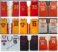 Vintage 33 Kevin Durant 22 Carmelo Anthony Oak Hill Lisesi Basketbol Formaları Texas Longhorns Syracuse Turuncu Kolej Dikişli Gömlek